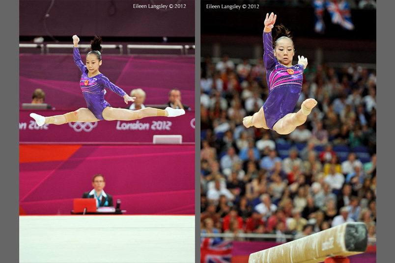 Deng Linlin (China) competes on floor exercise and balance beam during the women's team competition at the 2012 London Olympic Games.