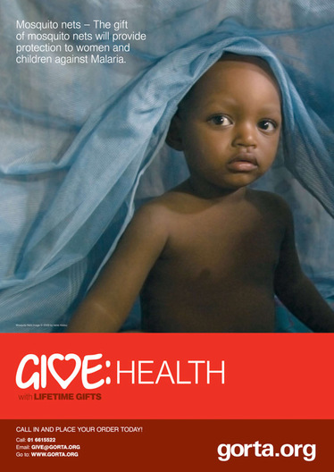 """Climbing Out from Under the Mosquito Net,"" A2 size poster, Gorta Fundraising Campaign, November 2008