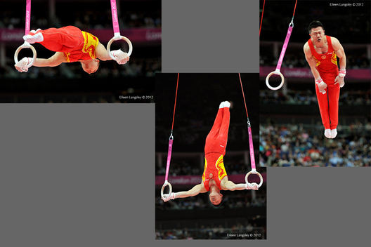 Chen Yibing (China) competing on Rings during the men's team competition at the 2012 London Olympic Games.