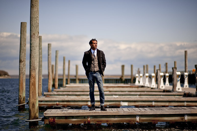 "Author Colson Whitehead on the docks in Sag Harbor, NY. Whitehead's recent book ""Sag Harbor"" is about the time he spent in the Sag Harbor community of Azurest as a young boy."
