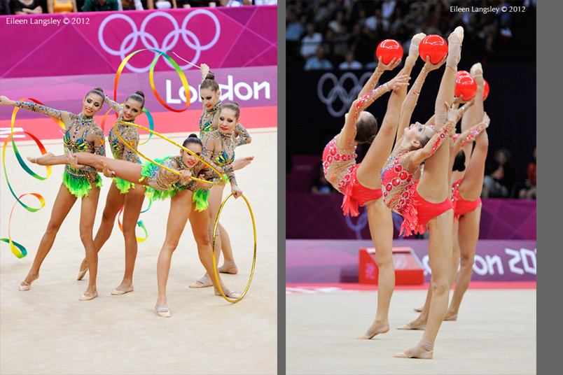 The group from Russia winners of the gold medal compete with Hoops and Ribbons and with five Balls during the Rhythmic Gymnastics competition of the London 2012 Olympic Games.