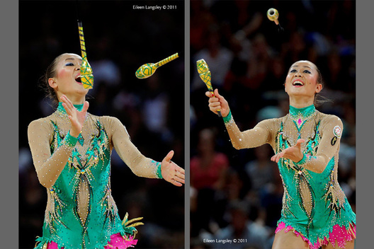 Aliya Garayeva (Azerbaijan) competing with Clubs at the World Rhythmic Gymnastics Championships in Montpellier.