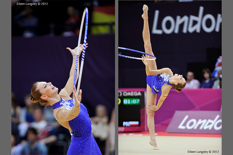 Joanna Mitrosz (Poland) competing with Hoop during the Rhythmic Gymnastics competition of the London 2012 Olympic Games.