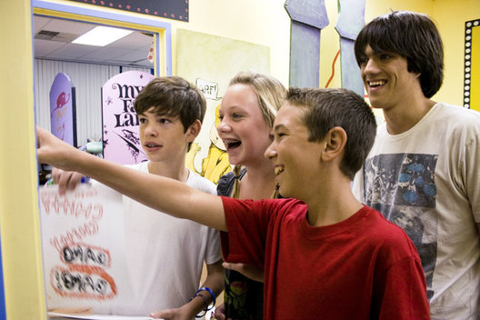 (left to right) Cooper Reynolds, 13, Austin Kendrick, 14, Aaron Griffin, 14, and Zach Relock, 15, react to seeing their names on the cast list after auditioning for Chitty Chitty Bang Bang.