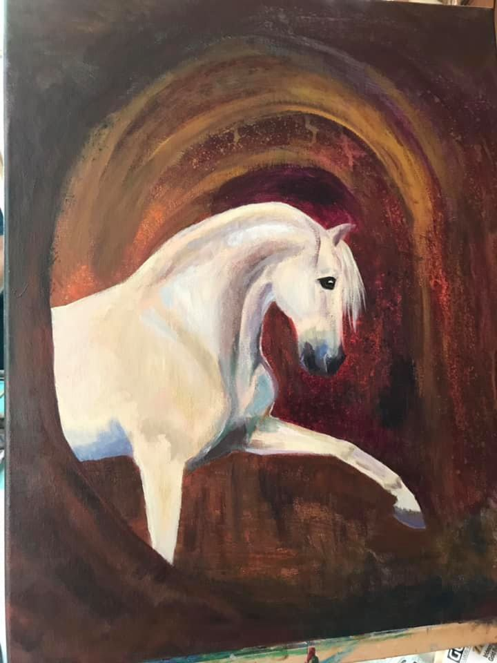Andalusian Stallion Oniris.   12x18 Acrylic on canvas wrap.  Unframed.  $125.