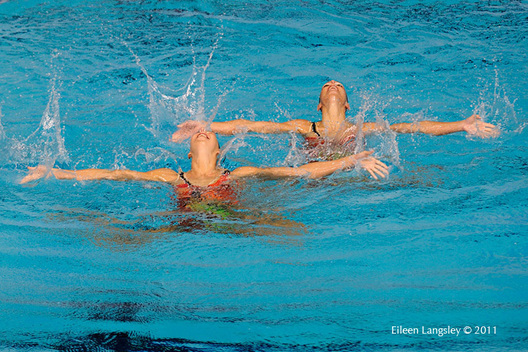 Giulia Lapi and Mariangela Perrupato (Italy) during their duet routine at the 2011 European Synchro Champions Cup at the Ponds Forge International Sports Centre.