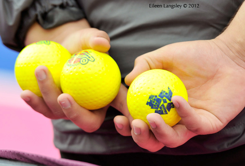 A generic image of the hands of a ball girl holding spare balls during a Women's Hockey match at the 2012 London Olympic Games.