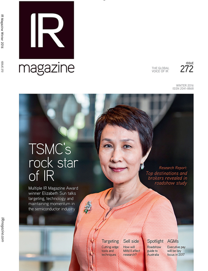 Elizabeth Sun, Senior Director, TSMC Corporate Communications Division, for IR Magazine's cover story