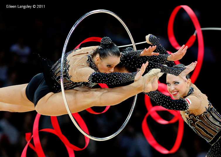 The group fro Poland perform a risky move during their routine at the 2011 World Rhythmic Gymnastics Championships.