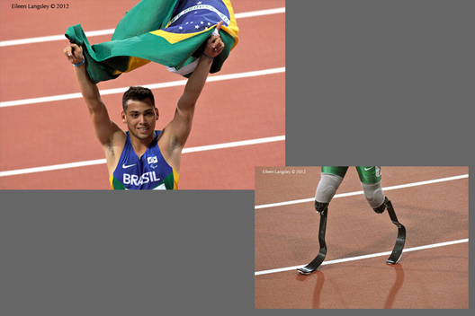 Alan Fonteles Cardoso Oliveira (Brazil) wins the 200 metres T44 race but the length of his blades provoke a xritical response from Oscar Pistorius during the Athletics competition of the London 2102 Paralympic Games.