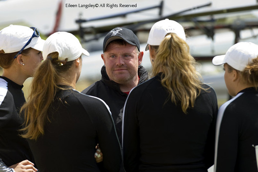 A portrait image of the coach of Egg Harbor Township before his crew go out to race.