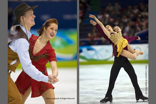 Emily Samuelson and Evan Bates performing their Original Dance (left) and their free programme (right) at the 2010 Vancouver Winter Olympic Games.
