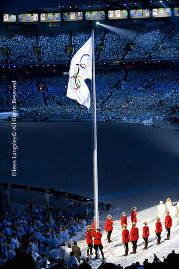 The Olympic Flag is raised during the Opening Ceremony of the 2010 Vancouver Winter Olympic Games.