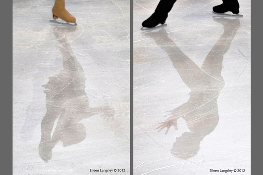A generic image of the shadows of skaters competing at the 2012 ISU Grand Prix Trophy Eric Bompard at the Palais Omnisports Bercy