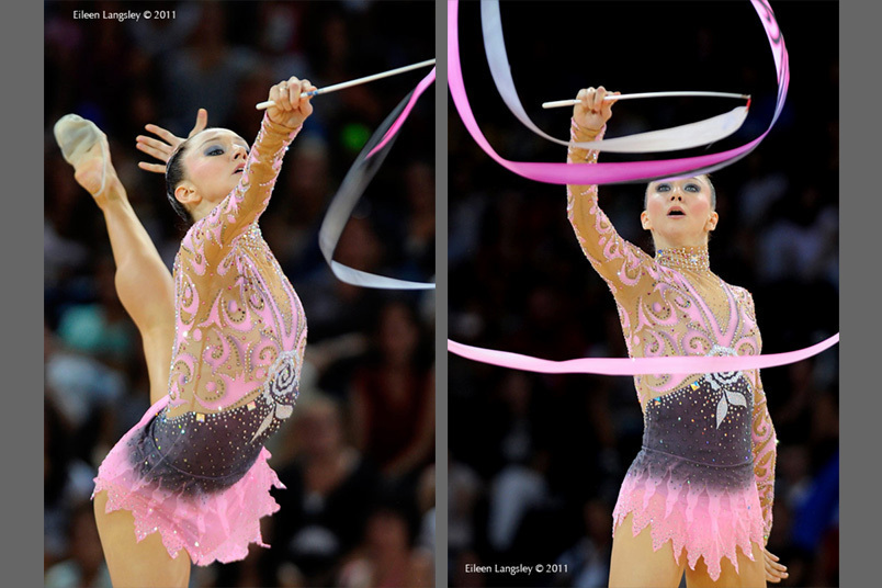 Liubou Charkashina (Belarus) competing with Ribbon at the World Rhythmic Gymnastics ChampioAustrianships in Montpellier.