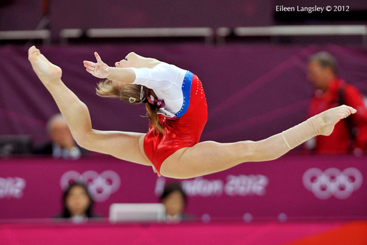 Anastasia grishina (Russia) competes on floor in the women's Gymnastics event at the London 2012 Olympic Games.
