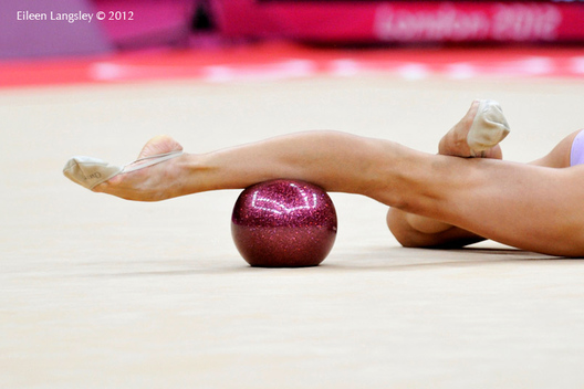 A generic image of the pointed toes of a gymnast competing with Ball during the Rhythmic Gymnastics competition of the London 2012 Olympic Games.