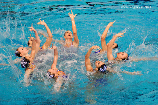 The Ukrainian team during their routine at the 2011 European Synchro Champions Cup at the Ponds Forge International Sports Centre.