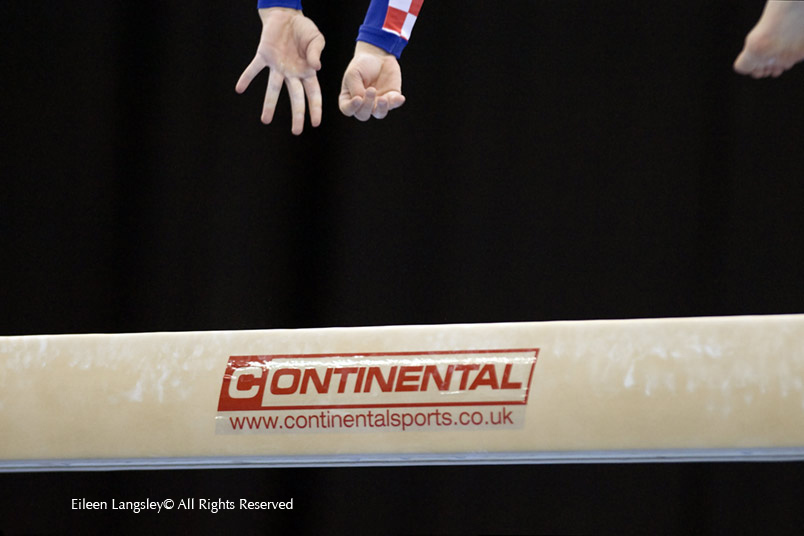A cropped action generic image of the hands and foot of a gymnast performing an aerial move on the Balance beam at the 2010 European Gymnastics Championships in Birmingham.
