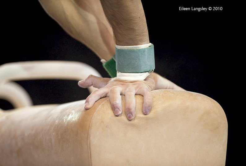 A generic image of the hands of a gymnast on Pommel Horse at the 2010 World Gymnastics Championships in Rotterdam.
