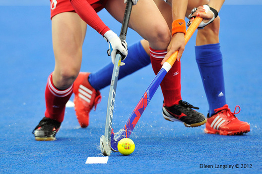 A generic image of players tacking during the japan versus Netherlands Women's Hockey match at the 2012 London Olympic Games.