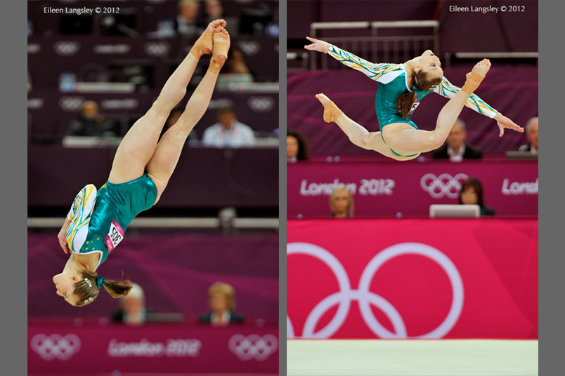 Lauren Mitchell (Australia) competes on floor exercise during the women's team competition at the 2012 London Olympic Games.