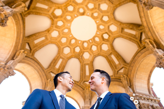 Two grooms tie the knot at Palace of Fine Arts in San Francisco, California gay elopement