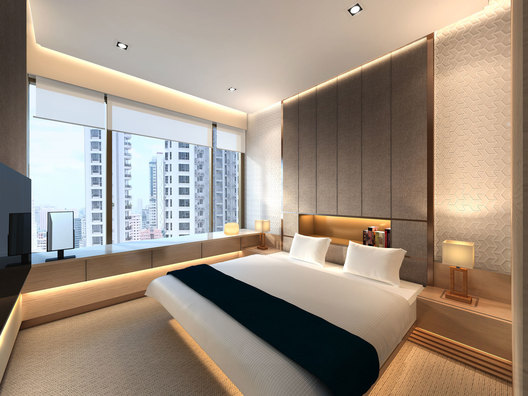 Master bedroom design of a contemporary luxury residential condominium home interior in Ardmore III in Singapore designed by AND lab.