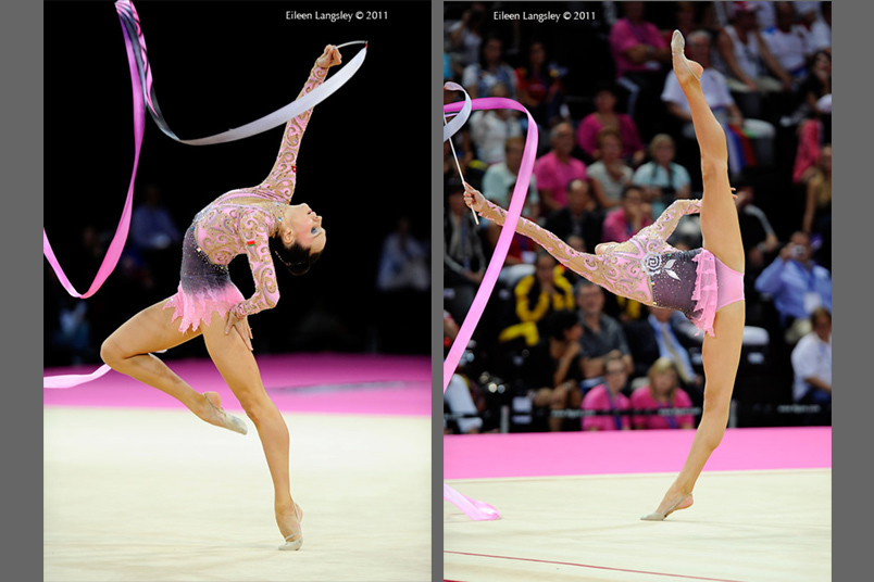 Lioubou Charkashyna (Belarus) competing with Ribbon at the World Rhythmic Gymnastics Championships in Montpellier.
