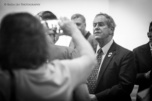 Joe Wilson speaks with young woman who confronted him at Aiken Town Hall, April 2017