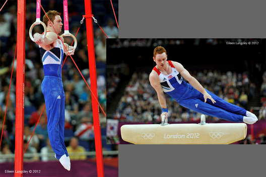 Daniel Purvis (Great Britain) competing on Rings and Pommel Horse during the Artistic Gymnastics competition of the London 2012 Olympic Games.