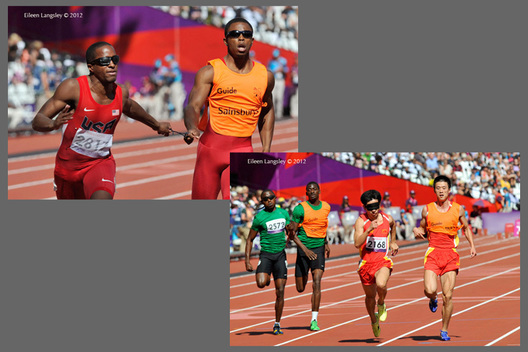 Blind athletes (David Brown USA, Francis Rotawo Nigeria and Lei Xue China), cross the finishing line ahead of their guides during the 100 metres T11 race of the Athletics competition at the London 2012 Paralympic Games.