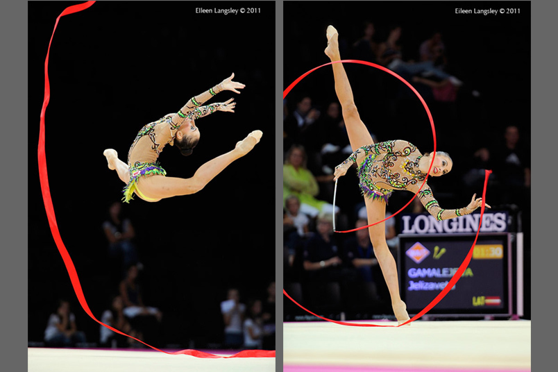 Daria Kondakova (Russia) competing with Ribbon at the World Rhythmic Gymnastics Championships in Montpellier.