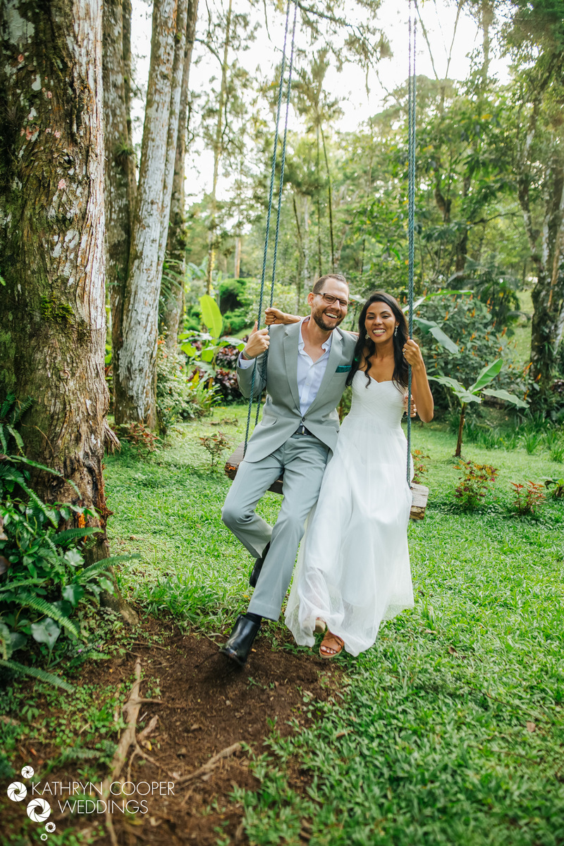 Destination wedding in Nicaragua Matagalpa wedding couple on swing Kathryn Cooper photos