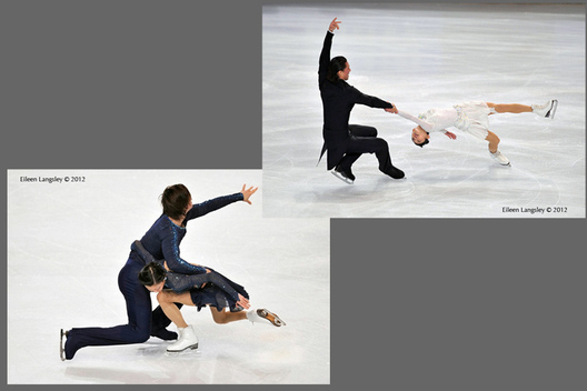 Yuko Kavaguti and Alexander Smirnov (Russia) competing in the Pairs competition at the 2012 ISU Grand Prix Trophy Eric Bompard at the Palais Omnisports Bercy