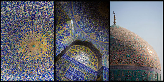 The esquisite blue tiles so prevalent in Iran's great mosques are featured in this triptych.