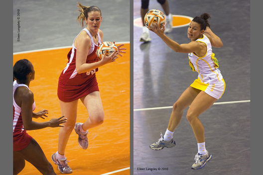 A double action image from the 2010 World Series Netball Championships in Liverpool featuring England's Louisa Brownfield (left) and Australia's Madison Browne (right).