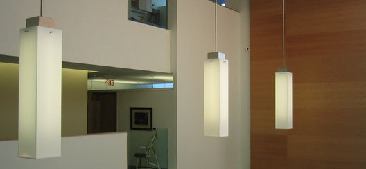 Large scale fabricated acrylic linear fluorescent atrium pendants