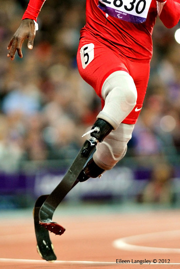 A cropped image of the blades of Blake Leeper (USA) competing in the 200 metres T44 event in the Athletic competition at the London 2012 Paralympic Games.