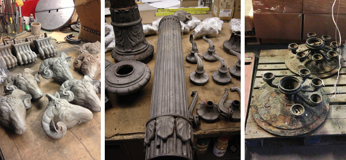 Restoration of circa 1915 cast iron outdoor pier mount torchieres. Left: Sandblasted decorative rams head elements, Middle: Cast iron elements mid restoration. Right: Rusted top components prior to restoration