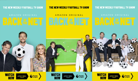 Back of the Net Digi Billboard Montage with Gabby Logan, John Bishop and Peter Crouch for Amazon Prime Sport