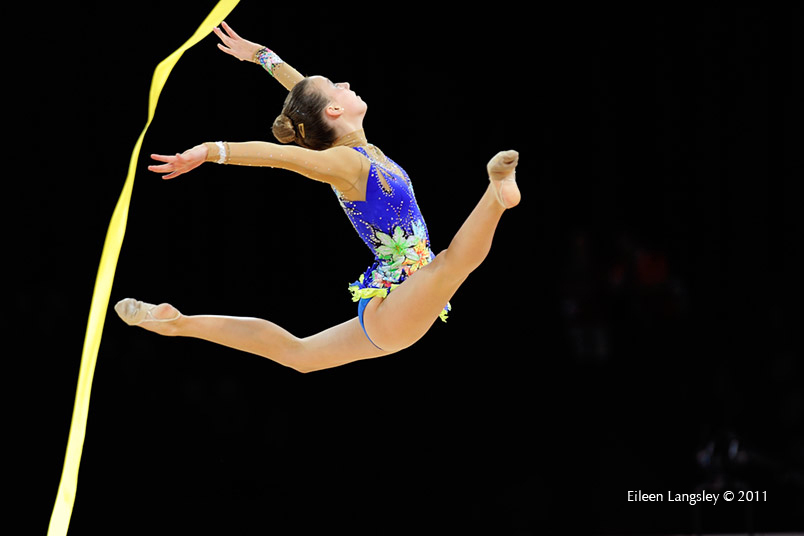Polina Kozitskiy (USA) competing with Ribbon at the World Rhythmic Gymnastics Championships in Montpellier.