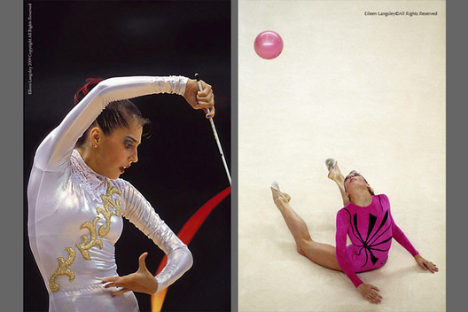 Elena Vitrichenko (Ukraine) competing with the Ribbon during the 1999 Goodwill Games in New York left and with the Ball at the Alicante World Championships.