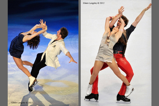 Nathalie Pechalat and Fabian Bourzat (France) competing in the long programme and the Exhibition Gala at the 2012 ISU Grand Prix Trophy Eric Bompard at the Palais Omnisports Bercy