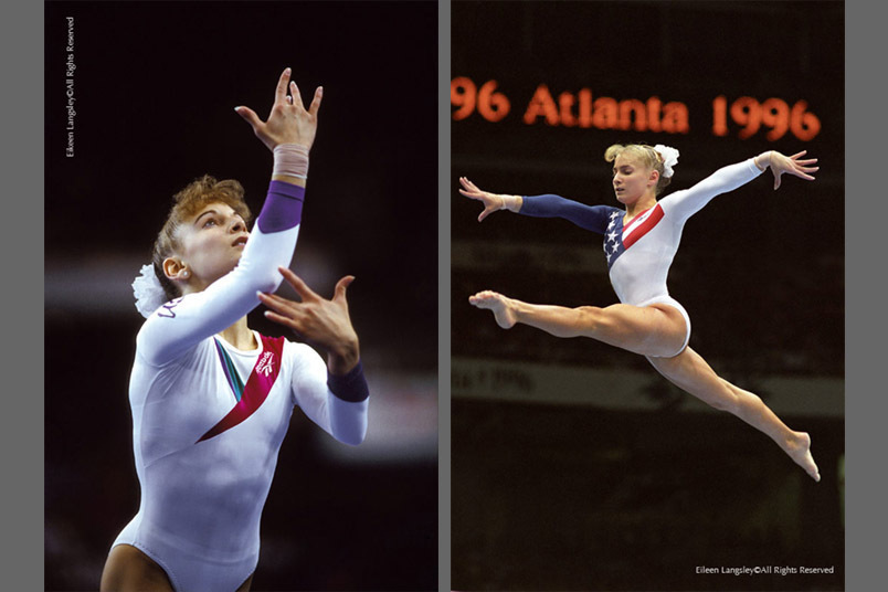 A double image of World and Olympic champion Shannon Miller (USA) competing at the Brisbane World Championships left and on the Balance Beam at the 1996 Atlanta Olympic Games.