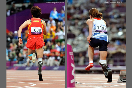 Juan Wang (China) left and Sophie Kamlish (great Britain) right compete in the 100 metres T44 event in the Athletic competition at the London 2012 Paralympic Games.
