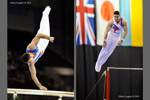 Kristian Thomas (Great Britain) competing on Parallel Bars and High Bar at the 2012 FIG World Cup in the Emirates Arena Glasgow December 8th