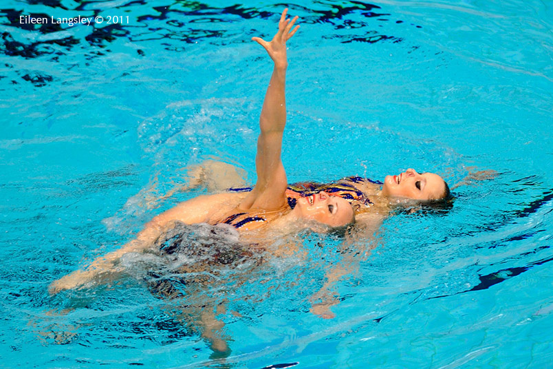 Nadine Brandl and Livia Lang (Austria) compete in the Duet section of the European Synchro Champions Cup atPonds Forge International Sports Centre in Sheffield May 2011.