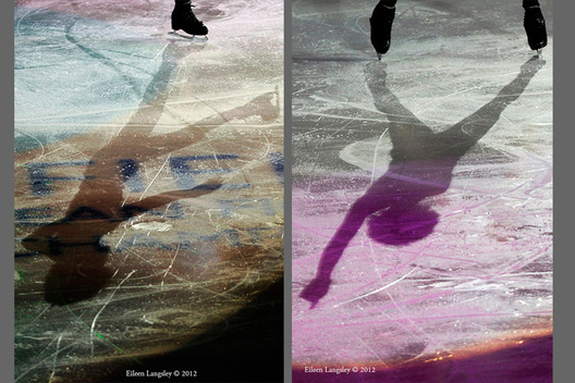 A generic image of the shadow of a skater performing a routine in the exhibition at the 2012 European Figure Skating Championships at the Motorpoint Arena in Sheffield UK January 23rd to 29th.
