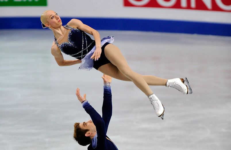 Britain's Stacey Kemp and David King competng in the Pairs event at the 2012 European Figure Skating Championships.